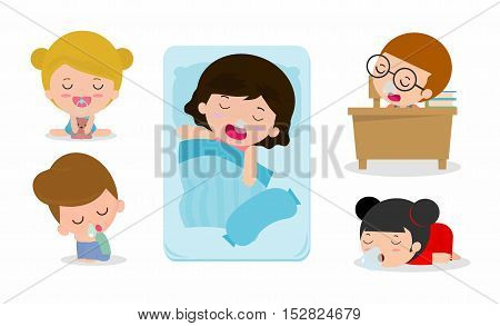 set of kid sleeping on white background, children resting at home, Couch and child Vector illustration