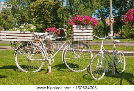 Festive design of Boulevard flower beds as bicycles