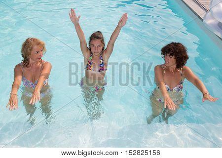 Female Fitness Class Doing Aqua Aerobics In Pool