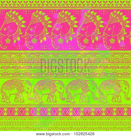 Pattern hippie with baby elephant made in vector. Color ornamental illustration for design, pattern, textiles. Use for children s clothes, pajamas