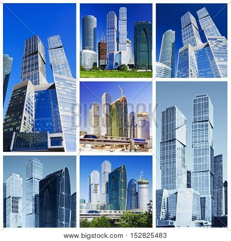 collage composed of images of skyscrapers Moscow City