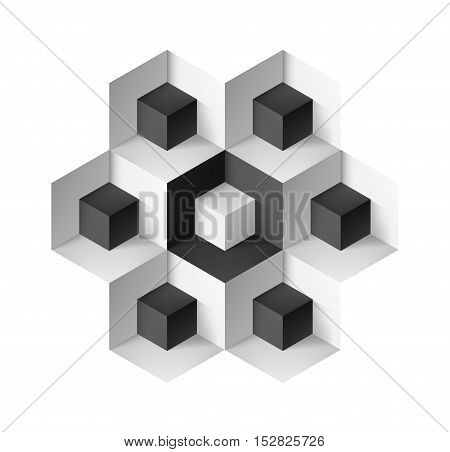 Abstract geometric object with cubes on white background