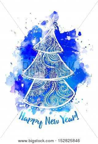 Happy New Year Card with Fir ornamental 2017. Holiday Vector illustration. Watercolor blue