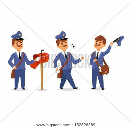Set of postman character vector courier occupation carrier. Cute man delivery package transportation courier postman character. Mail business shipping man postman character message deliver.