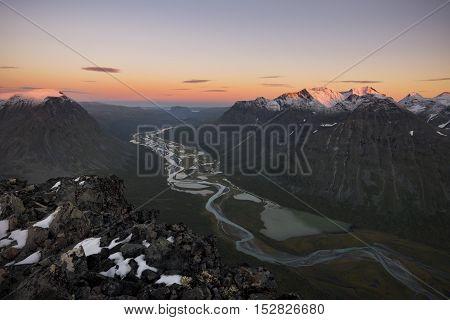 River meandering through Rapadalen valley Sarek, Sweden