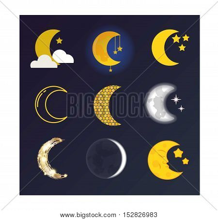 Phases of the moon  nature cosmos cycle satellite surface. Whole cycle from new moon month to full surface star astrology sphere.  illustration moon month astronomy space lunar.