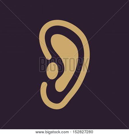 The ear icon. Listen symbol. Flat Vector illustration