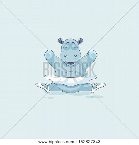 Vector Stock Illustration isolated Emoji character cartoon ballerina Hippopotamus sits in splits Happy and contented hippo sticker emoticon for info graphic, animation, website, mail, reports, comic