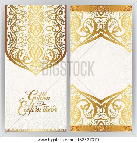 floral golden eastern decor with place for your text, paisley pattern for wedding invitation, birthday greeting card, packaging, party flayer and other design, calligraphy vector illustration
