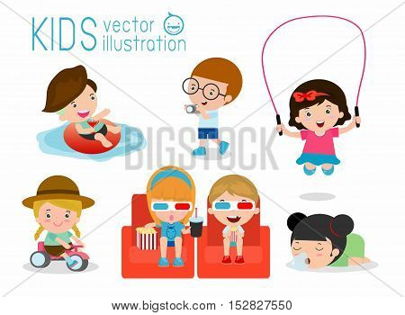 set of cute kids on holidays, children's cute characters Vector Illustration: