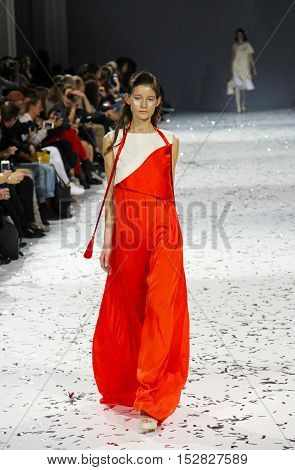 KYIV UKRAINE - OCTOBER 13 2016: Model walks the runway at Yana Belyaeva collection show during the 39th Ukrainian Fashion Week at Mystetsky Arsenal in Kyiv