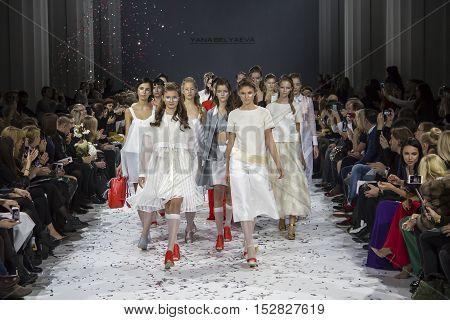 KYIV, UKRAINE - OCTOBER 13, 2016: Models walk the runway at Yana Belyaeva collection show during the 39th Ukrainian Fashion Week at Mystetsky Arsenal in Kyiv