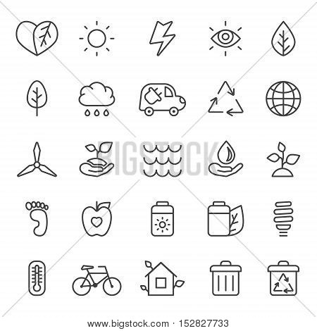 Outline gray eco icons vector set. Clean and simple design.