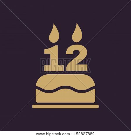 The birthday cake with candles in the form of number 12 icon. Birthday symbol. Flat Vector illustration