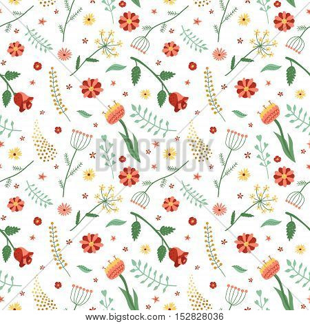 Floral and plant vector seamless pattern. Wrapping paper design. Vintage colors.