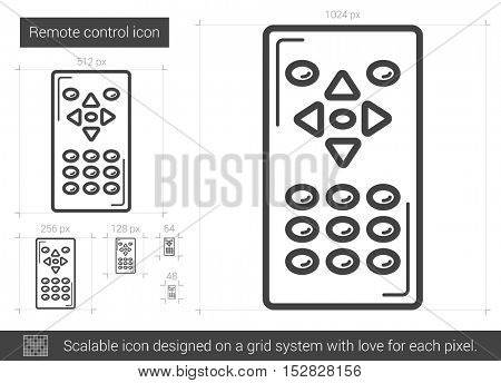 Remote control vector line icon isolated on white background. Remote control line icon for infographic, website or app. Scalable icon designed on a grid system.