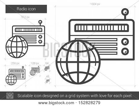 Radio vector line icon isolated on white background. Radio line icon for infographic, website or app. Scalable icon designed on a grid system.