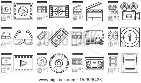 Cinema vector line icon set isolated on white background. Cinema line icon set for infographic, website or app. Scalable icon designed on a grid system.