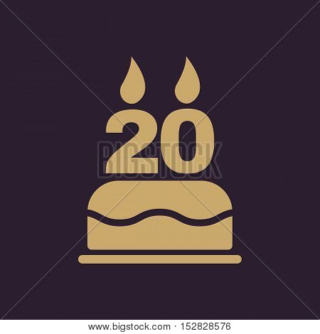 The birthday cake with candles in the form of number 20 icon. Birthday symbol. Flat Vector illustration