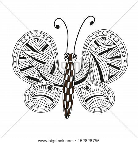 Hand drawn ornamental butterfly outline illustration with decorative ornaments. Zentangle stylized black Butterfly. Hand Drawn vector illustration isolated on white background. Sketch for tattoo or makhenda. Insect collection.