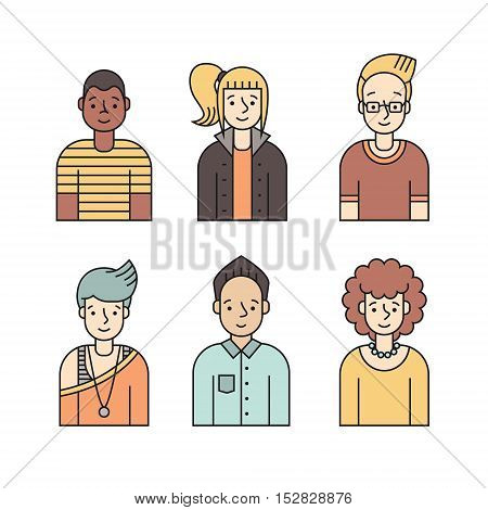People multicolored icon vector set (men and women). Clean and simple design. Part two.