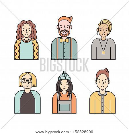 People multicolored icon vector set (men and women). Clean and simple design. Part six.