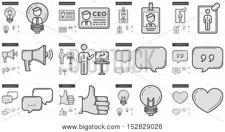 Human resources vector line icon set isolated on white background. Human resources line icon set for infographic, website or app. Scalable icon designed on a grid system.