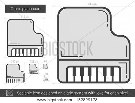 Grand piano vector line icon isolated on white background. Grand piano line icon for infographic, website or app. Scalable icon designed on a grid system.