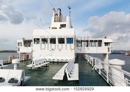 The bow of a car ferry while sailing to a destination