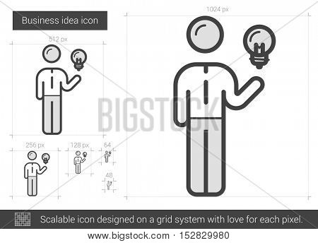 Business idea vector line icon isolated on white background. Business idea line icon for infographic, website or app. Scalable icon designed on a grid system.