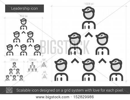 Leadership vector line icon isolated on white background. Leadership line icon for infographic, website or app. Scalable icon designed on a grid system.