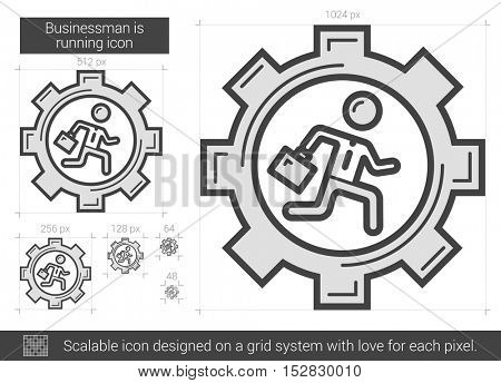 Businessman is running vector line icon isolated on white background. Businessman is running line icon for infographic, website or app. Scalable icon designed on a grid system.