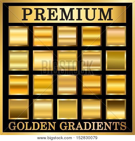 Gold texture in frame set. Collection golden gradient smooth material background. Square textured bright metal shiny. Metallic blank decorative isolated pattern. Abstract art. Vector Illustration