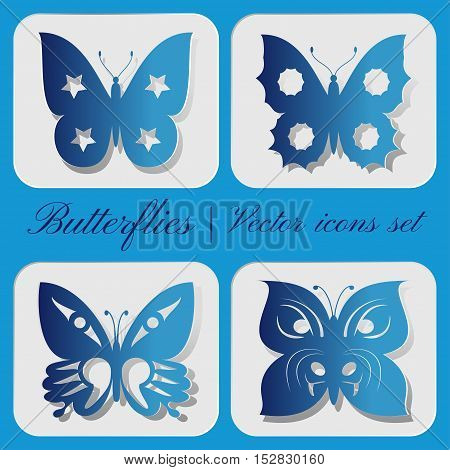 Set of 4 vector icons carved butterfly on a gray background.