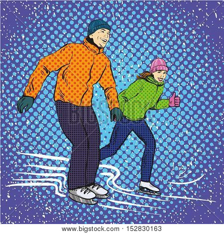 Man and woman ice skating. Vector illustration in pop art retro style. Winter sports vacation concept. Couple spend time together on ice skate rink.