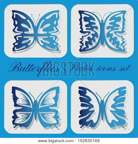Set of vector icons carved butterflies on gray background.