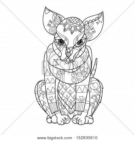 Hand drawn doodle outline dog decorated with ornaments.Vector zen art illustration.Floral ornament.Sketch for tattoo or relax anti stress adult coloring pages.