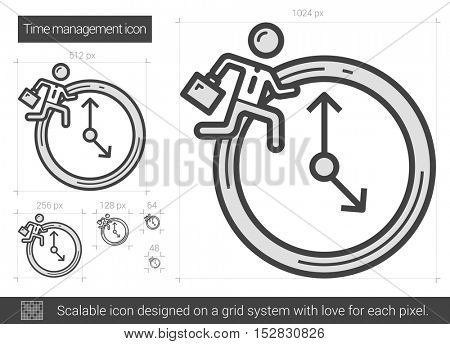 Time managment vector line icon isolated on white background. Time managment line icon for infographic, website or app. Scalable icon designed on a grid system.