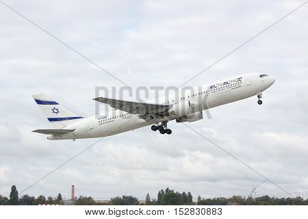 Borispol Ukraine - October 2 2011: El Al Boeing 767-300ER is taking off into cloudy sky