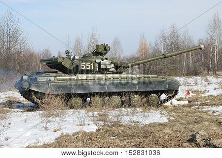 Zhitomir Ukraine - March 10 2011: Ukrainian Army main battle tank T-64B during the training triving