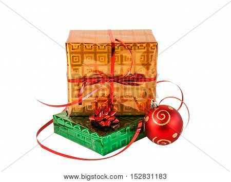 Gift boxes and christmas ball. Isolated on white background