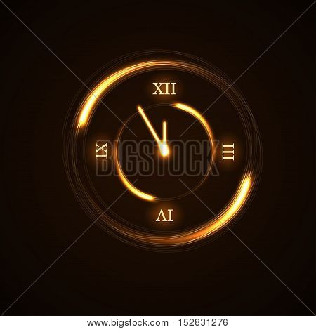 Gold Christmas magic clock background. Golden circle shiny design with sparkles and glitter. Decoration for card greeting. Symbol of 2017 Happy New Year countdown. Vector illustration