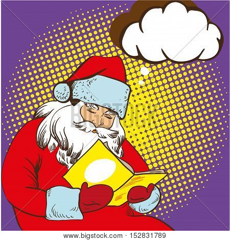 Santa claus reading fairy tales book. Vector illustration in comic pop art style. Christmas concept poster.