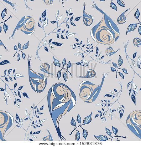 Seamless floral pattern, rose flowers and leaves elements. Doodle style.