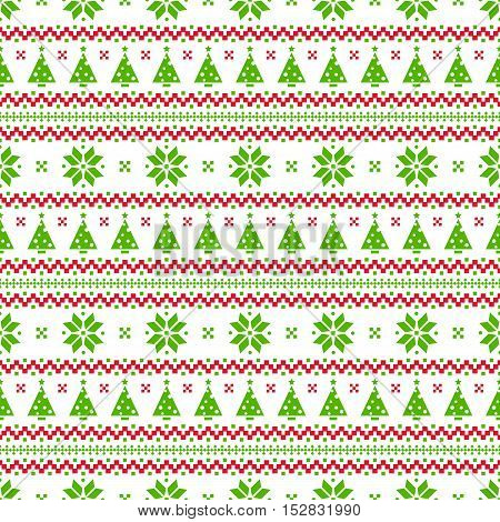 Merry Christmas and Happy New Year! Knitted seamless background with christmas trees. Norwegian patterns in white green and red colors. Vector illustration.