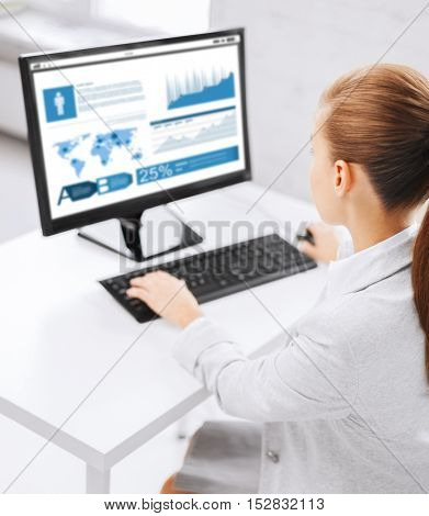 business, people, technology, statistics and education concept - businesswoman or student girl with graphs on computer screen sitting at office table