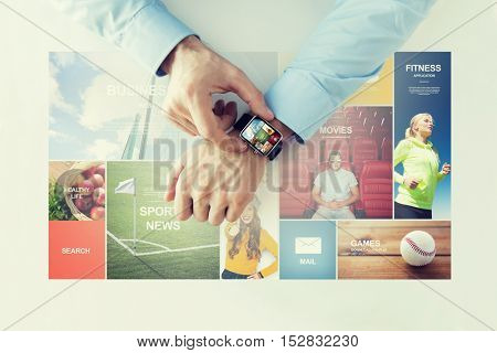 business, technology, media, application and people concept - close up of male hands setting smart watch with news web pages on screen