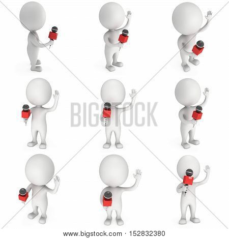 White man hosting show and talking into microphone set. Wave hello. 3d render illustration isolated on white background.