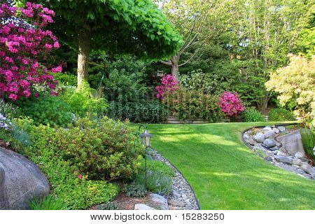 Beautiful park garden in spring.