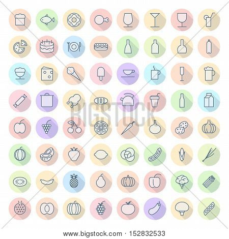 Thin Line Icons For Food and Drinks. Vector eps10.